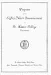 Program of the Eighty-Ninth Commencement of St. Xavier College, Cincinnati