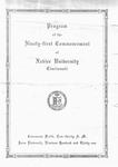 Program of the Ninety-First Commencement of Xavier University, Cincinnati