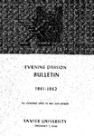 1961-1962 Xavier University Evening Division Bulletin Course Catalog