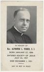Alphonse Fisher memorial holy card