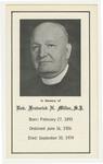 Frederick Miller memorial holy card