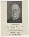 Matthias Peters memorial holy card