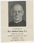 Matthias Peters memorial holy card
