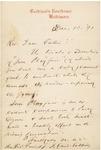 Cardinal Gibbon's Letter to Father Finn Concerning Tom Playfair
