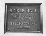 Hinkle Hall dedication plaque